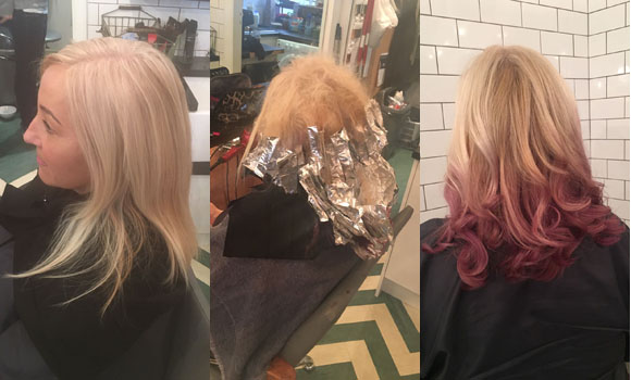 pink hair, Aveda colour